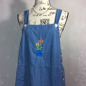 Johnny Was Denim Embroidered Jumper Dress L